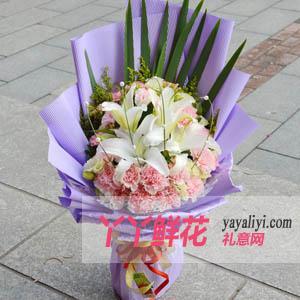 鲜花22支康乃馨4枝百合