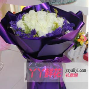 鲜花19支白玫瑰