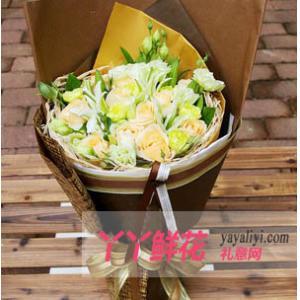 鲜花11支香槟玫瑰3枝百合6枝白康