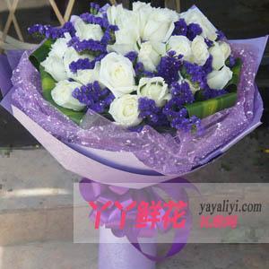 鲜花速递33枝白玫瑰