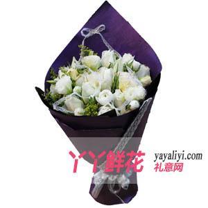 鲜花速递19枝白玫瑰