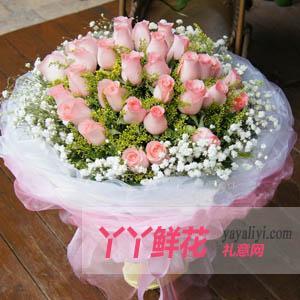 女朋友生日送花33枝戴安娜粉玫瑰