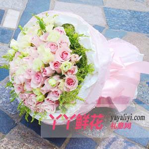 爱人生日送花66枝粉玫瑰