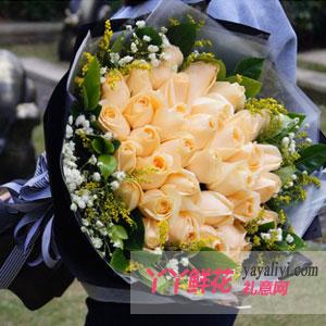 女朋友生日送花33枝香槟玫瑰
