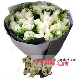 爱人生日送花19枝白玫瑰