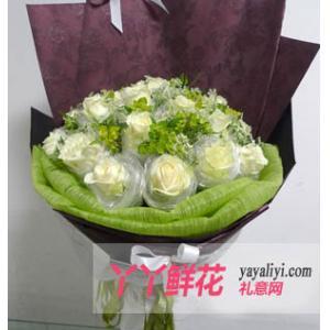 鲜花19枝白玫瑰独头包装