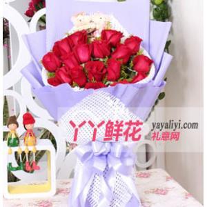 鲜花速递19枝红玫瑰2只小熊(明天会更好)