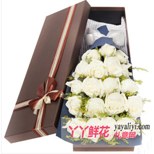 忆往兮 - 鲜花速递19枝白玫瑰礼盒