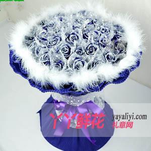 鲜花33枝蓝色妖姬