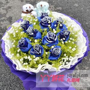 蔚蓝色的梦 - 鲜花11枝蓝色妖姬2只小熊
