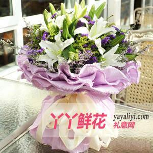 鲜花18朵白色百合