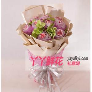 鲜花11支银沙粉玫瑰