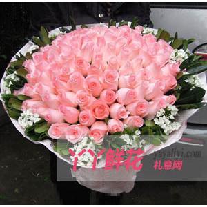 玫瑰花束99枝粉玫瑰