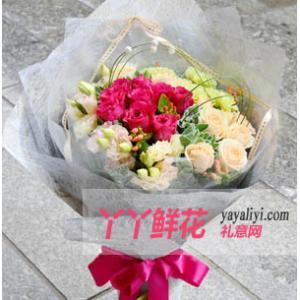 花店订花19支桃红玫瑰香槟玫瑰混搭花束