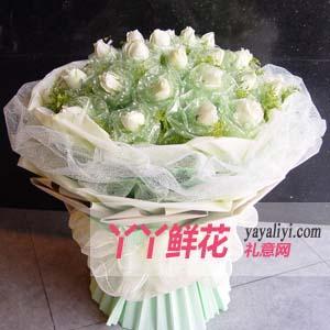 鲜花19支白玫瑰(苏醒)