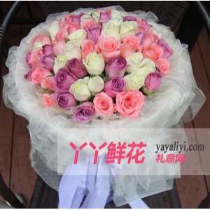 订花33支混色玫瑰
