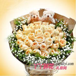 33朵香槟玫瑰加2只可爱小熊