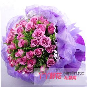 恋上开花 - 鲜花33枝紫色玫瑰
