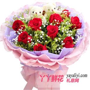 圣诞节11朵红玫瑰2只小熊同城送花