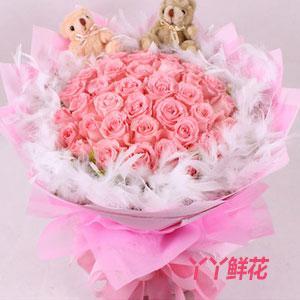 19朵粉玫瑰2小熊免费送花(粉红浪漫)