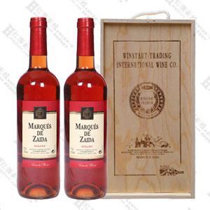 西安红酒侯爵赛达玫瑰红木盒2支装