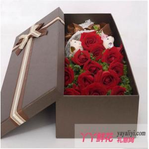 19朵红玫瑰2小熊鲜花礼盒(情燃不夜天)