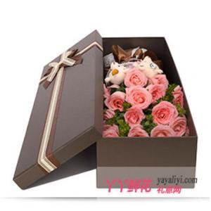 19朵戴安娜玫瑰2只小熊鲜花礼盒(倾世之恋)