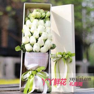 永恒的爱 - 19朵白玫瑰桔梗礼盒