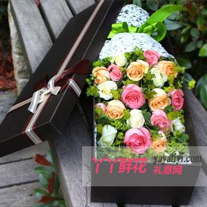 19朵混搭玫瑰礼盒