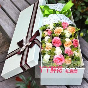 19朵混搭玫瑰浅色礼盒
