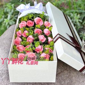 19朵粉玫瑰浅色礼盒