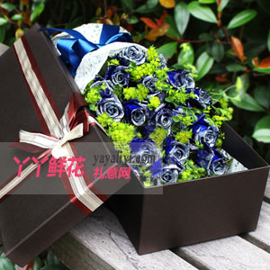蓝色之恋 - 19朵蓝色妖姬深色鲜花礼盒