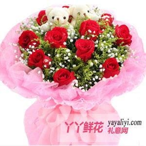 一世痴迷 - 鲜花速递11朵红玫瑰2只小熊