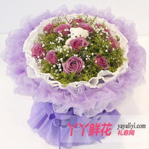 鲜花 - 11枝紫玫瑰1只小熊鲜花速递
