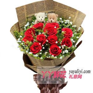 鲜花速递11支红玫瑰2小熊
