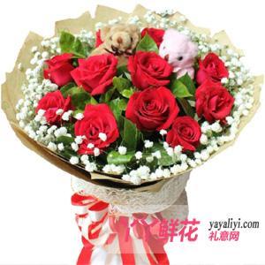 鲜花速递11支红玫瑰2只小熊