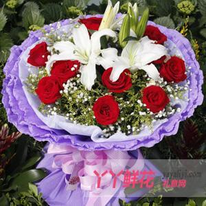11支红玫瑰2支多头百合