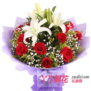 长相守 - 11支玫瑰2支百合生日送花