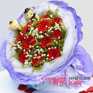 11支红玫瑰2只小熊鲜花速递