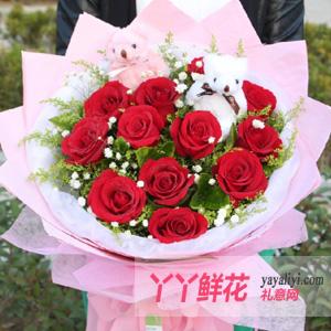 圣诞节鲜花速递11朵红玫瑰2只小熊