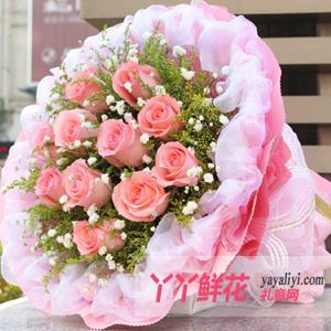 真心相爱 - 老婆生日送花11枝粉玫瑰