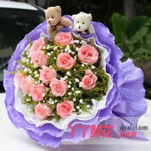 特价鲜花11枝粉玫瑰2只小熊(一生牵手)