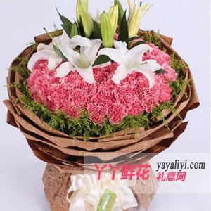 66朵粉康乃馨6朵百合(幸福安康)