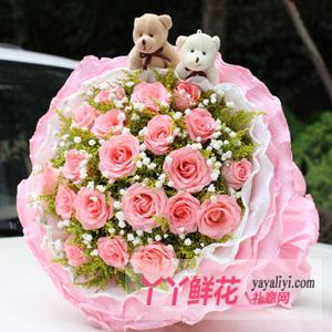 19支粉玫瑰2只小熊鲜花速递(浪漫幻想)