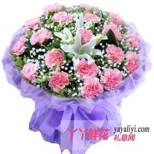 鲜花19支康乃馨2支百合