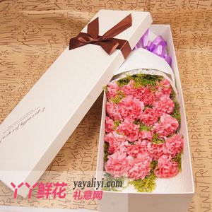 西安19支粉色康乃馨高档礼盒