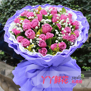坚贞不渝 - 33枝紫玫瑰鲜花速递
