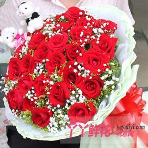 33枝红玫瑰2只小熊鲜花速递(爱上你)