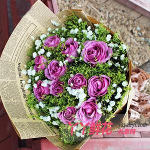 鲜花11支紫玫瑰