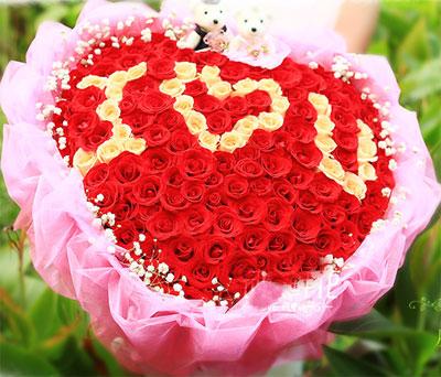 圣诞节99朵混色心形红玫瑰花送花